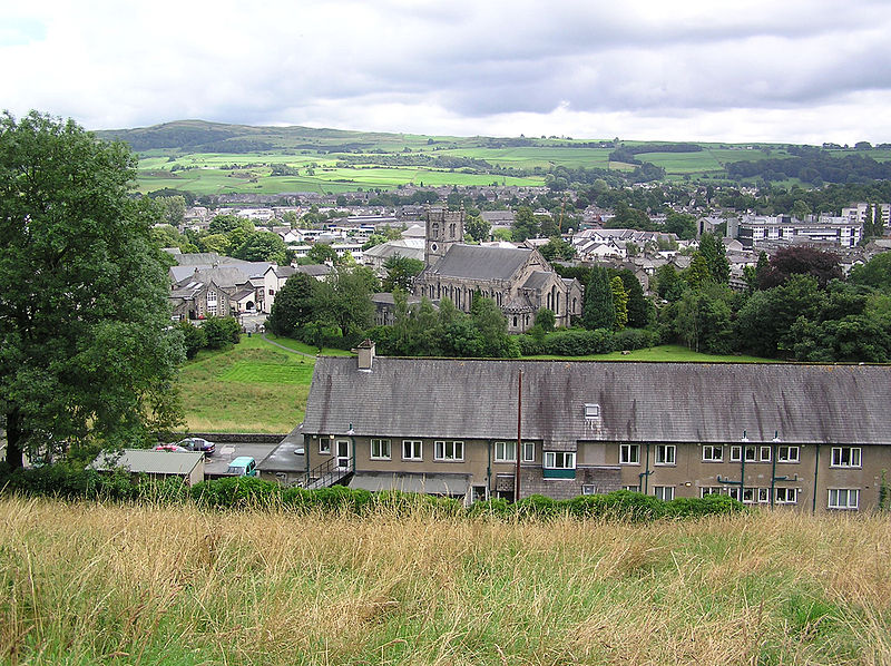 Panorama of Kendal (Cumbria) with the Parish Church (Holy Trinity)