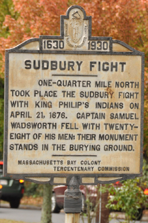 Historical marker commemorating the Battle of Sudbury in 1676
