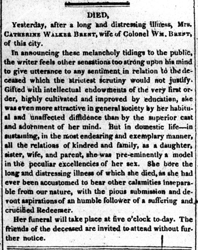 Obituary of Catherine Walker Johnson Brent, 1822, Washington D.C.