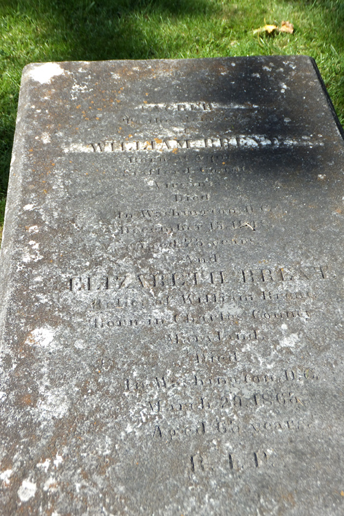 gravestone of Col. William Brent and his second wife, Elizabeth Neale, Carroll Chapel and cemetery, Forest Glen, Maryland
