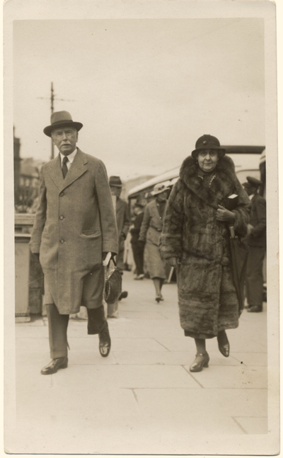 Maude Alice Miller, walking with her husband, Ernest Bentall