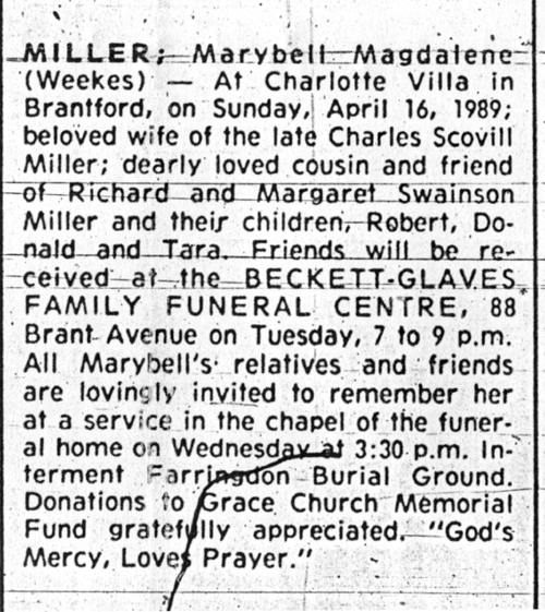 Obituary of Marybell Weekes Miller, wife of Charles Scovell Miller.