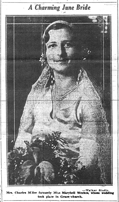 Newspaper notice of wedding of Marybell Weekes and Charles Scovell Miller, photo of Marybell.